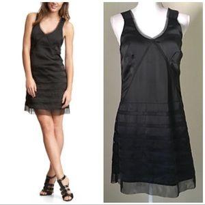 NWT GAP black satin Tiered net A-line Dress 2.